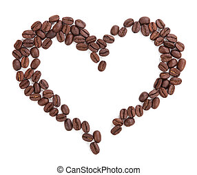 Heart of coffee isolated on white background