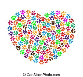 Heart of colorful paw prints - Heart of colorful pawprints ...