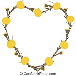 Heart of coltsfoot flowers, vector