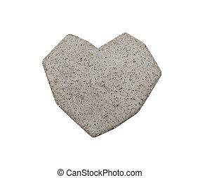 Heart of concrete on a white background