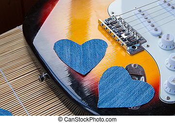 Heart of denim on the guitar. Happy friendship day