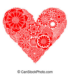 Heart of flower - Hand drawn Heart of red flower doodle...