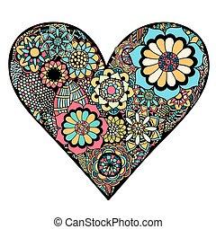 Heart of flower - Hand drawn Heart of flower doodle...