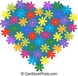 Heart of flowers, vector illustration