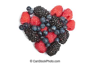 heart of fresh berries isolated