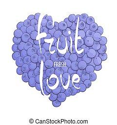 Heart of fresh blueberries