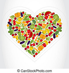 Heart of fruits and vegetables.