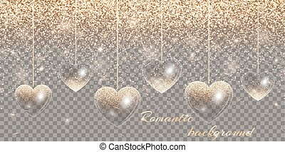 Heart of gold highlights on a transparent background
