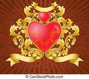 heart of gold with vintage ornament