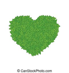Heart of green leaves