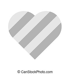Heart of grey stripes. 3D effect. Symbol of love and...