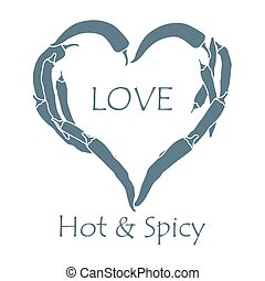 Heart of hot chilli peppers. Valentine's Day