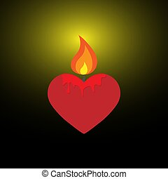 Heart of in the form of burning candles.