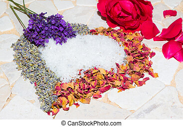 Heart of lavender and roses