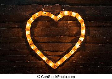 heart of lights on a dark background