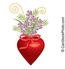 Heart of love for Valentine with flowers