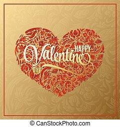 Heart of love. Vector flower pattern. Postcard heart. Great for Valentine's Day, wedding. Symbol heart. Hand drawn. Vector illustration.