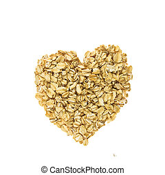 Heart of oatmeal isolated on white background