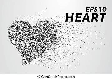 Heart of particles. The heart is made up of circles and dots. Vector illustration