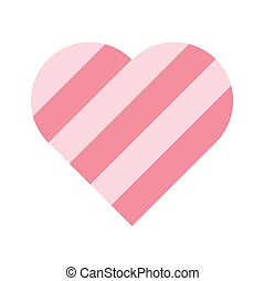 Heart of pink stripes. 3D effect. Symbol of love and...