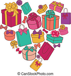 heart of presents - vector heart made of presents