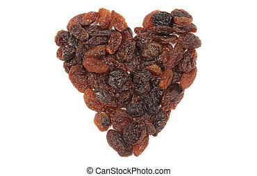Heart of raisins isolated on white background