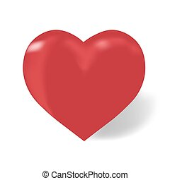 Heart of red color on a white background with shadow, isolated, illustration