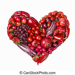 Heart of red fruits and vegetables