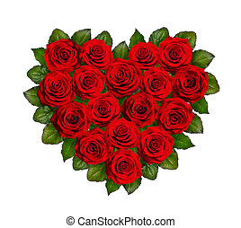 Heart of red rose. Isolated on white background