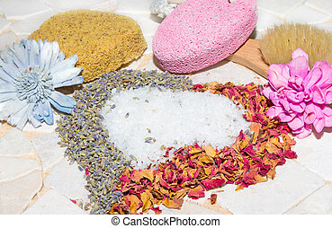 Heart of rose petals, lavender and bath crystals