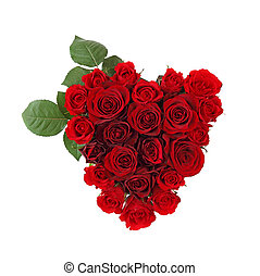 Heart of roses isolated on white background