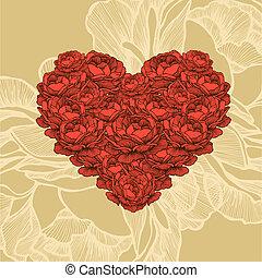 Heart of roses, vector illustration.