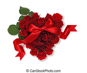 Heart of roses with ribbon
