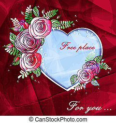 heart of roses with space for text and beautiful background