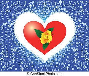 heart of snowflakes with a yellow rose