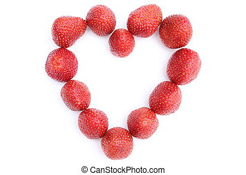 Heart of strawberry on white background