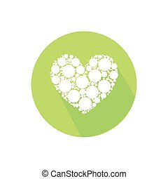 heart of the circle. on a white in a bright circle