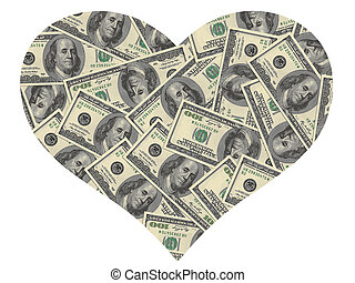 heart of the dollars on a white background