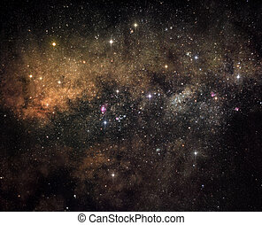 A picture of central area of Milky Way that is rich in stars and bright nebulaue