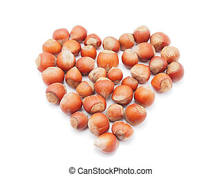 heart of the hazelnuts on a white background