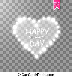 Heart of the lamps on a transparent background. Valentines day card. Heart with inscription I Love You. Vector illustration