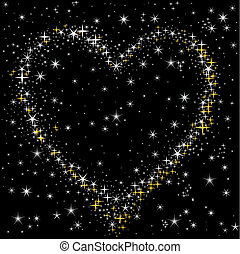 heart of the starry sky - heart of the white and gold stars...