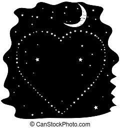 Heart of the stars on a black night sky