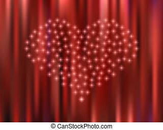 Heart of the stars on a red background