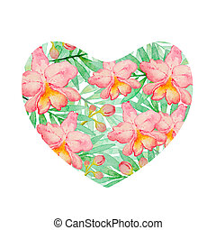 Heart of watercolor orchids