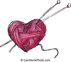 Heart of yarn - Hand drawing heart of yarn. Eps8. CMYK....