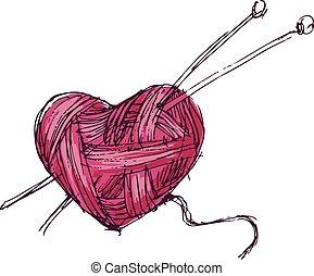 Heart of yarn - Hand drawing heart of yarn. Eps8. CMYK....