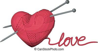 Heart of yarn - Heart shape of yarn. Eps8. CMYK. Organized...