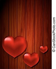 heart on a background of wooden pla