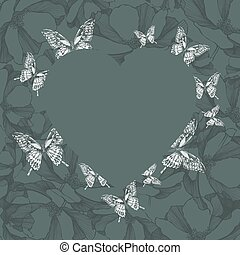 Heart on a floral background with butterflies. Vector illustrati
